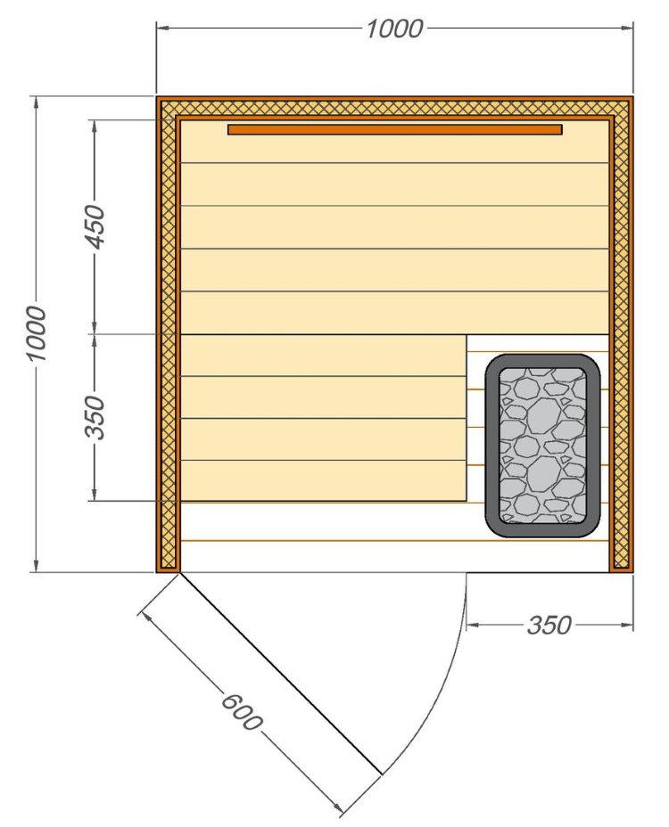 Dessin d'un sauna à placer sur le balcon de l'appartement