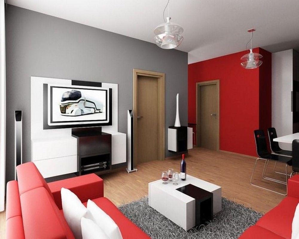 Décor de salon avec murs contrastants