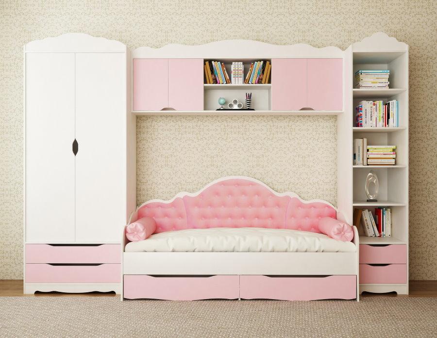 Mur avec un lit pour la chambre d'une fille
