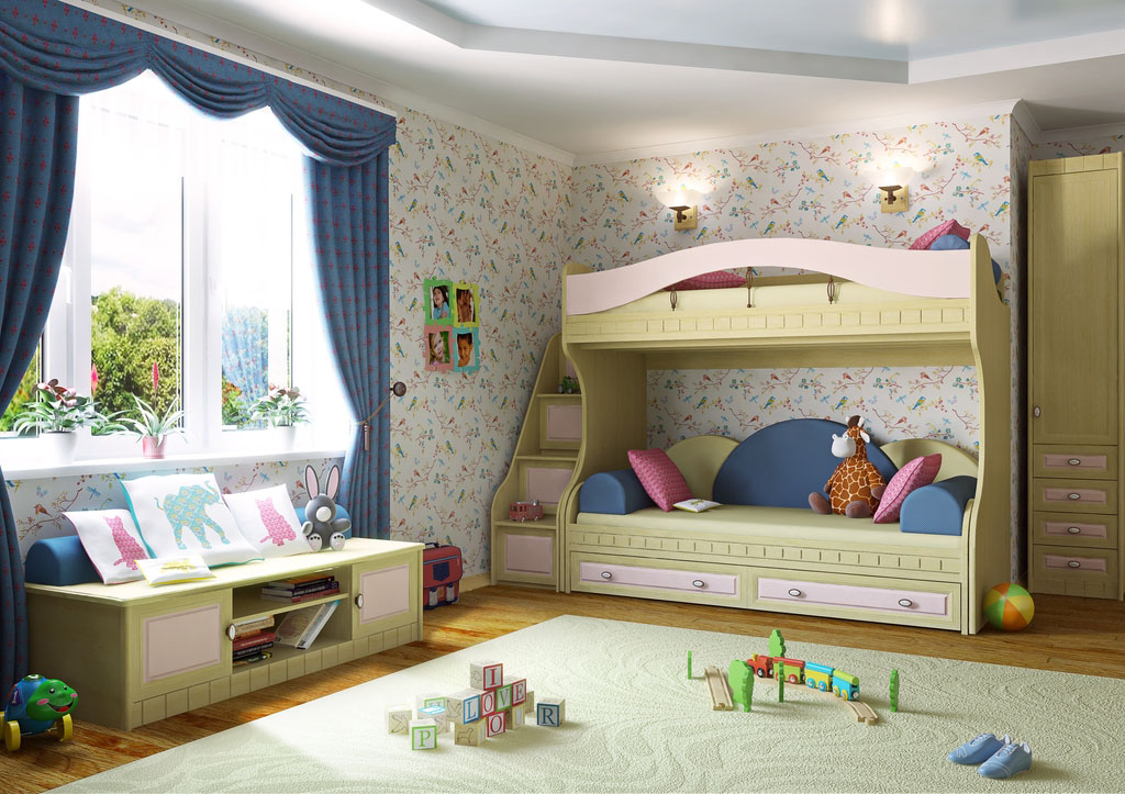 chambre d'enfant avec un lit superposé