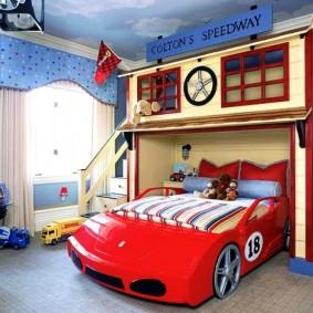 maison pour voiture de course garçon