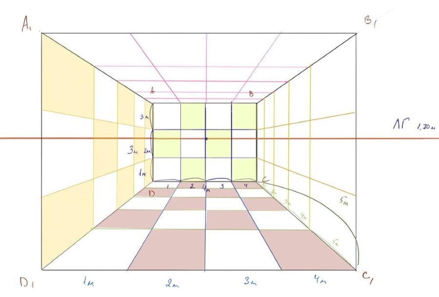 Croquis en perspective d'une pièce avec des carrés d'échelle