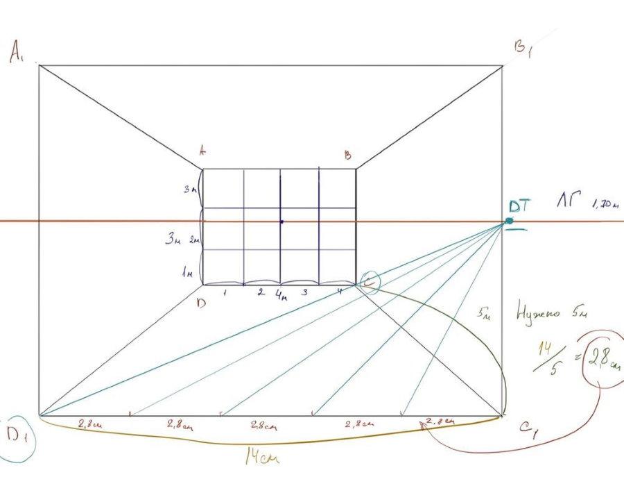 Un exemple de dessin d'un croquis d'une pièce en perspective