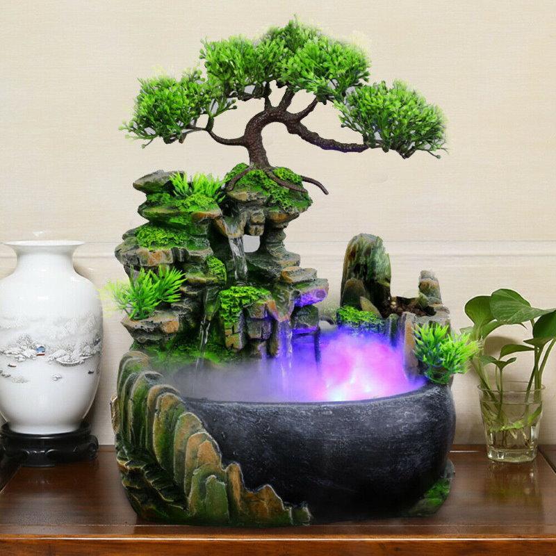 Fontaine décorative rétro-éclairée avec brouillard