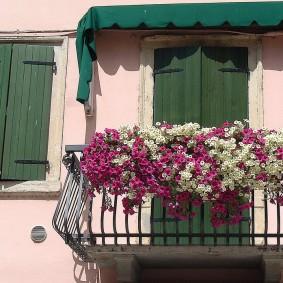 Beau balcon avec des fleurs sur la balustrade