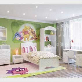 Papier peint vert dans une chambre d'enfant