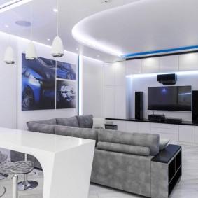 Éclairage de salon blanc haute technologie