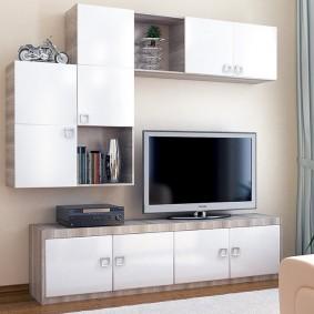 Mur avec armoires suspendues dans le salon