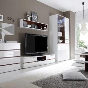 Ensemble de meubles aux façades brillantes