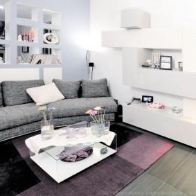 Canapé gris avec revêtement textile