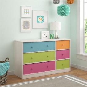 Commode pour enfants avec tiroirs colorés