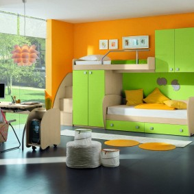 Mobilier vert clair de type modulaire