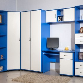 Mobilier modulaire bleu et blanc