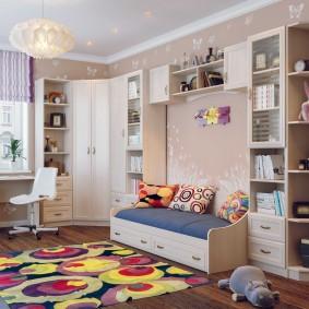 Conception de salle de garçon avec des meubles modulaires.