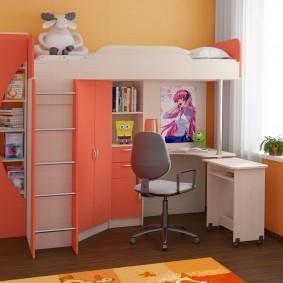 Lit mezzanine pour enfants avec bureau