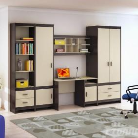 Mur d'enfants direct avec armoire et étagères ouvertes