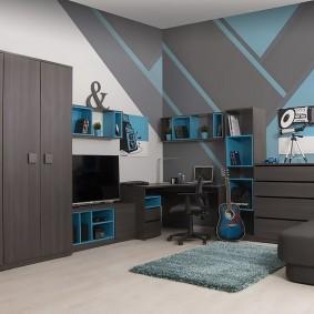Meubles gris dans une chambre d'adolescent