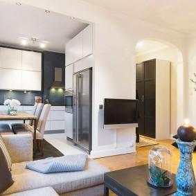 Conception d'une cuisine-séjour dans un appartement de deux pièces