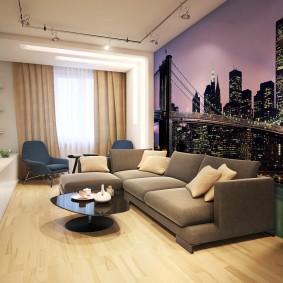 Papier peint avec impression photo de la ville nocturne dans le salon
