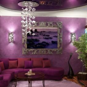 Lustre en verre écologique dans le salon