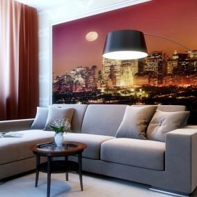 Papiers peints derrière un canapé d'angle