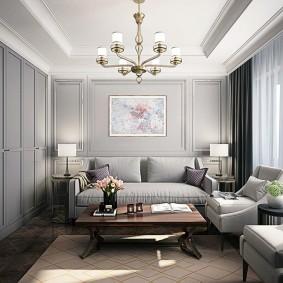 Murs gris dans une pièce rectangulaire