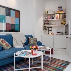 Revêtement de canapé en denim bleu