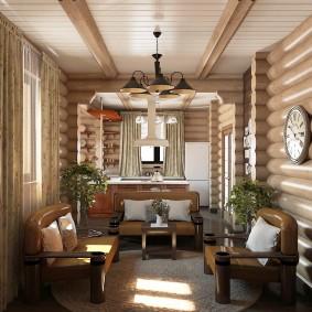 Doublure en bois au plafond du salon