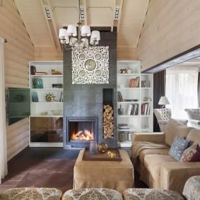 Cheminée îlot dans un salon moderne
