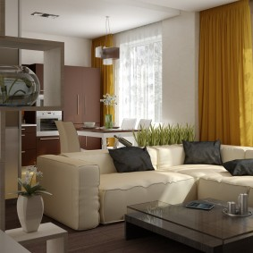Canapé dans le salon-cuisine de taille moyenne