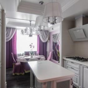 Disposition à deux rangées d'une petite cuisine