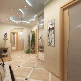 Sol en céramique dans le hall d'entrée d'un appartement de deux chambres