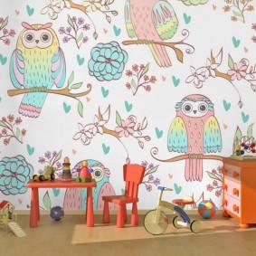 Papier peint enfant avec dessins d'un hibou