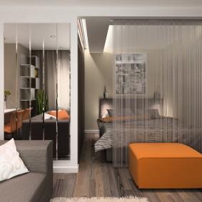 Zonage de l'appartement avec rideaux