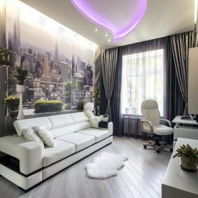Papiers peints dans un salon gris