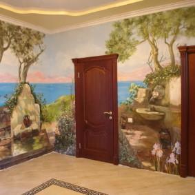 Papier peint avec impression photo dans un couloir spacieux