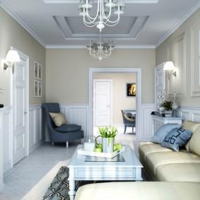 Salon étroit dans un style moderne