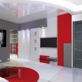 Couleur rouge dans la décoration intérieure du salon
