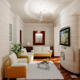 Séjour étroit dans un petit appartement
