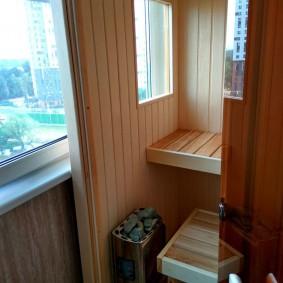 Petit hammam sur le balcon de l'appartement