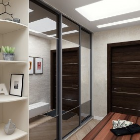 Armoire à glace dans le couloir d'un appartement de deux chambres