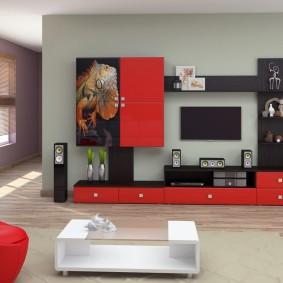 Façades de meubles rouges dans le salon