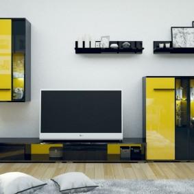 Conception modulaire de mur jaune-noir
