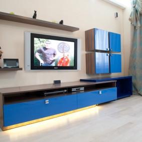 Façades bleues de mobilier de salle modulaire