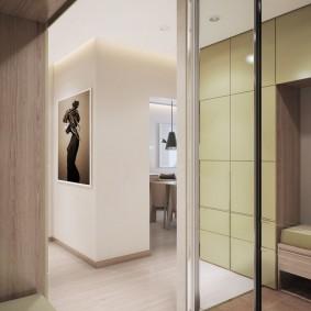 Armoire étroite avec portes miroir