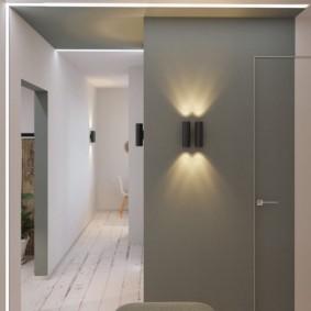 Mur gris dans le couloir d'un style minimaliste.