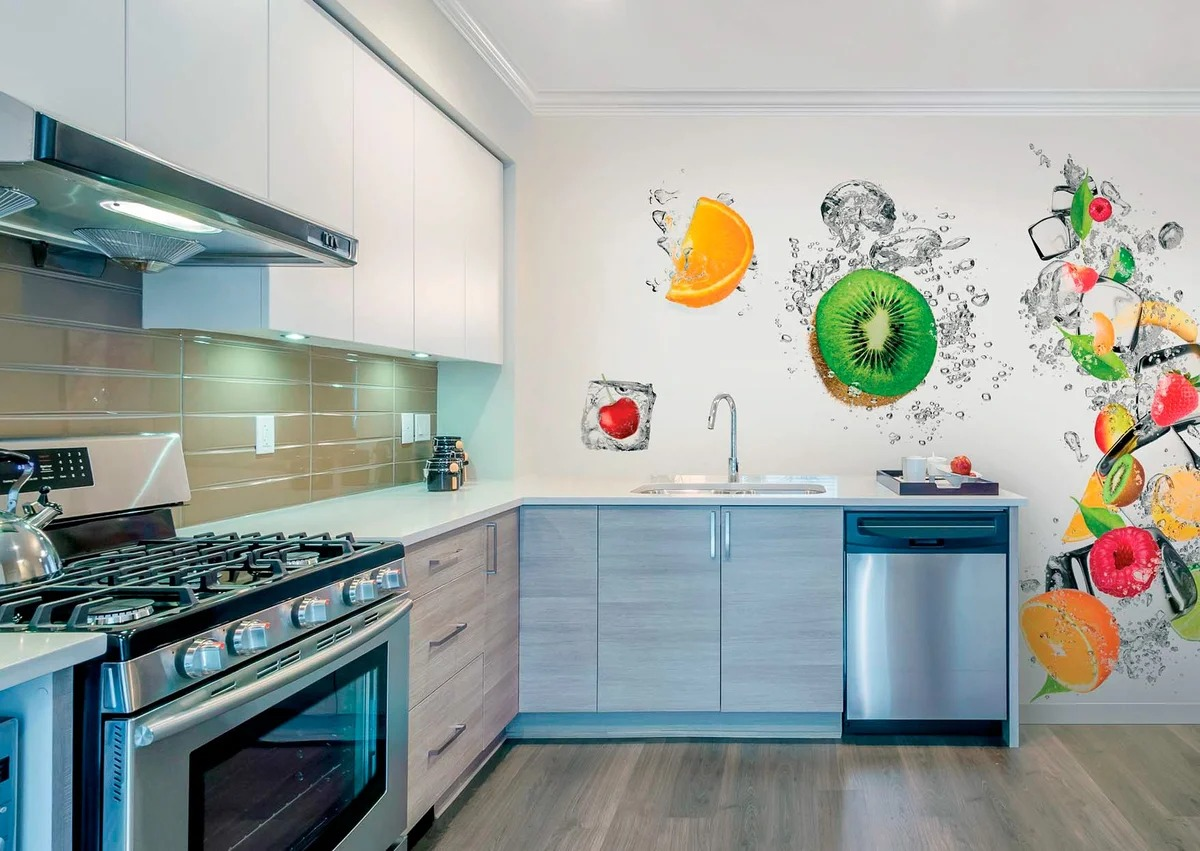 papier peint photo dans la cuisine