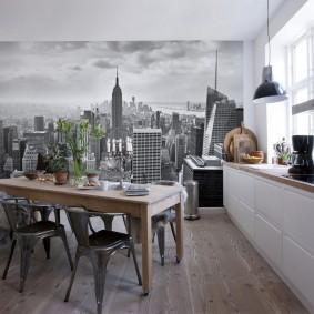 Papiers peints dans une petite cuisine