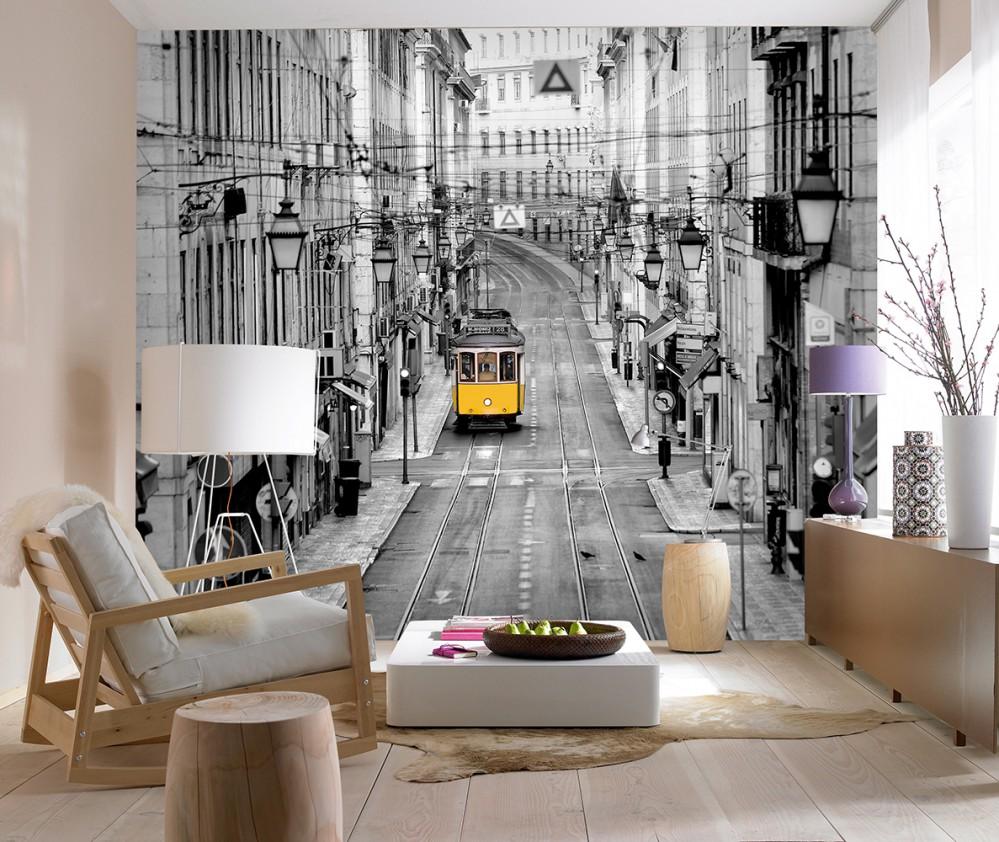 Fond d'écran 3D avec impression photo de la ville sur le mur du salon