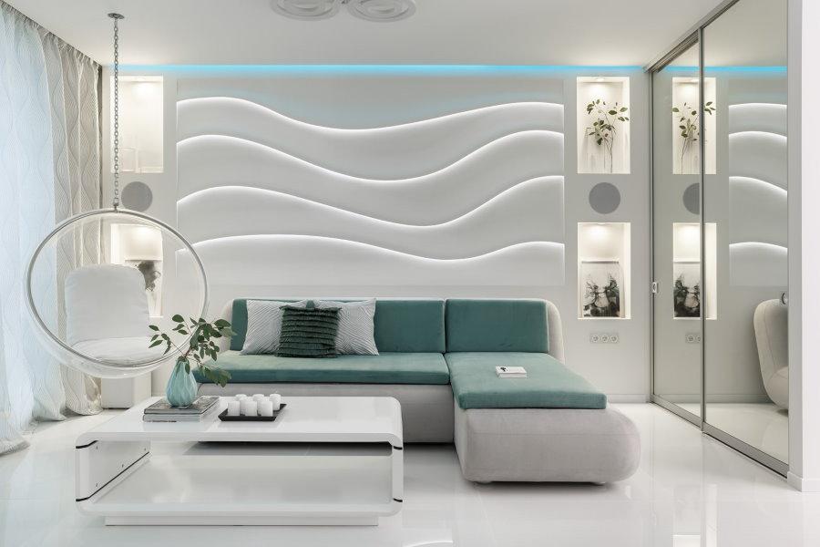 Plafonniers high-tech bleus sur le plafond du salon